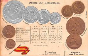 Coin Postcard, Old Vintage Antique Espana, Spain