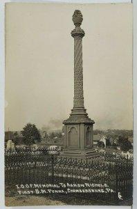 Chambersburg Pa RPPC I.O.O.F. Memorial to Aaron Nichols Laughlin Postcard O5