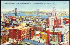 Pennsylvania PHILADELPHIA Delaware River Bridge showing US Customs House - LINEN
