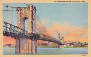 Ohio Cincinnati Suspension Bridge Curteich
