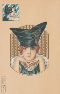 E. COLOMBO ; Art Deco Female Portrait & Cat , 1910s ; #4