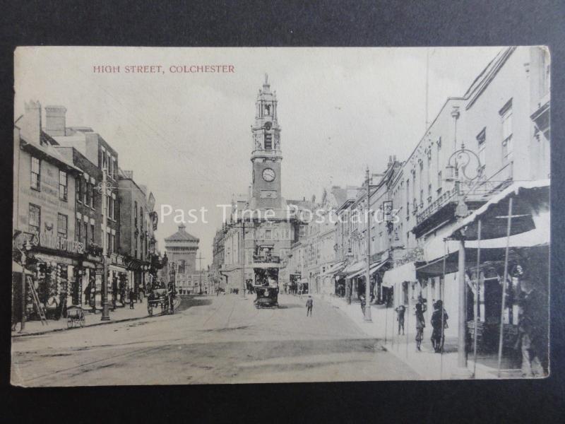 Essex COLCHESTER High Street showing TRAM & CLOCK TOWER c1906 Old Postcard