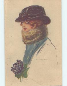 Pre-Linen foreign signed FASHION - WOMAN WEARING HAT AND THICK SCARF HL8283
