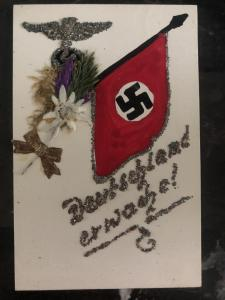 Mint Germany hand Painted Postcard rare 1932 NAZI Flag