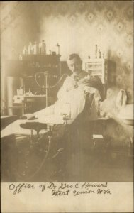 West Union WV Dentist Dr. Geo Howard w/ Patient c1910 Real Photo Postcard xst