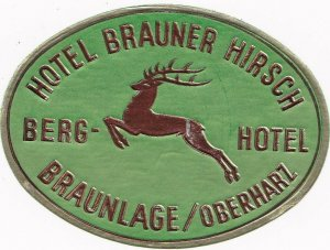 Germany Braunlage Hotel Brauner Hirsch Vintage Luggage Label sk3242