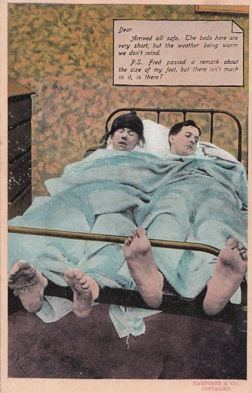 Giant Smelly Feet In Hotel Room Gay Interest Comic Old Postcard