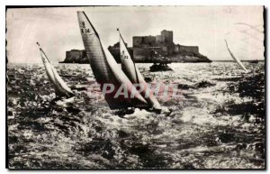 Old Postcard Marseille on Chateau d'If Sailing Yacht