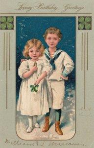 BIRTHDAY, 00-10s; Sailor boy & girl holding four-leaf clover, Greetings, PFB7372