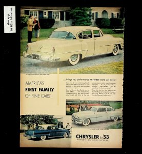 1953 Chrysler America's First Family Fine Cars Vintage Print Ad 015745