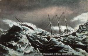Schooner Ship HH Chamberlain Great Gale of 1898 c1910 Postcard