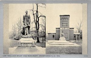 Crawfordsville Indiana~Lew Wallace Study & Monument~1940s Silver Border Postcard