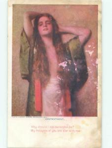 Pre-Linen Risque SEXY TOPLESS GIRL WITH LONG HAIR AB6082