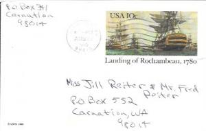 US Used Pre-stamped Postcard UX84 Landing of Rochambeau, 1780. Ships