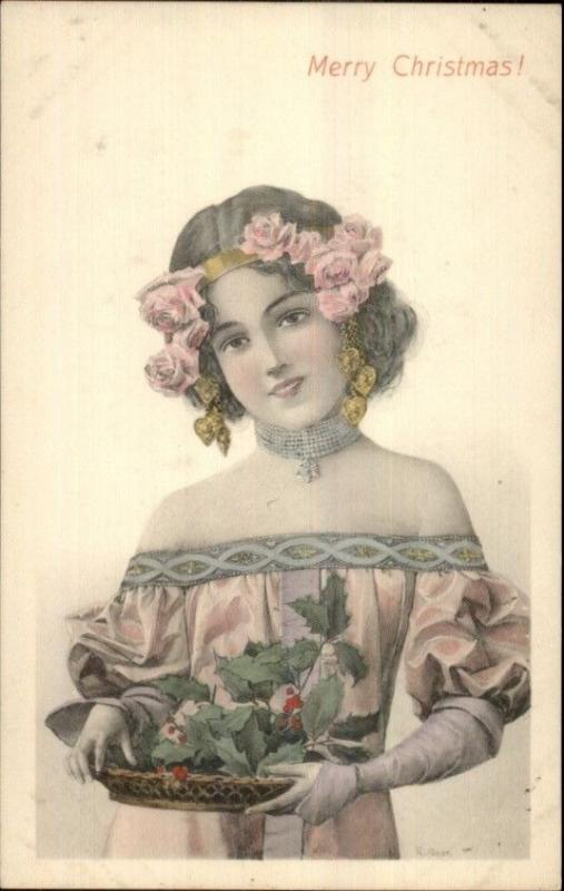 Christmas - Beautiful Woman w/ Platter of Holly R. AVER c1910 Postcard
