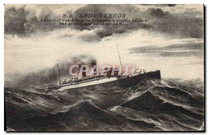 Postcard Old Ship Ship SS Andre Lebon Ship Express mail french