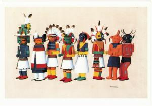Postcard of Hopi Kachina Dolls Painting by Fred Kabotie Native American Art