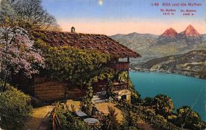 Switzerland Rutli und die Mythen Cabin Lake Mountain Postcard