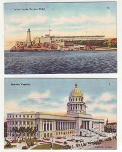 P957 2 havana cuba views linen cards unused