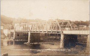 International Bridge between Calais ME and St. Stephen NB RPPC Postcard F12