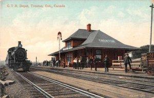 Trenton Ontario Canada GTR Depot  Train Station Vintage Postcard AA4161