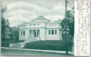 Meriden, Connecticut Postcard Curtis Memorial Library Street View 1905 Cancel
