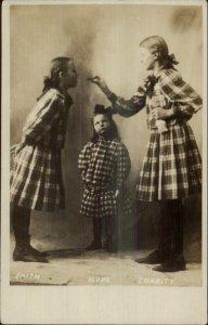 Studio Sisters Hair in Bows Dresses FAITH HOPE CHARITY Sharing Food c1905 RPPC