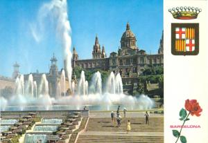Spain, Barcelona, Fuente Monumental y Palacio Nacional de Montjuich, Postcard