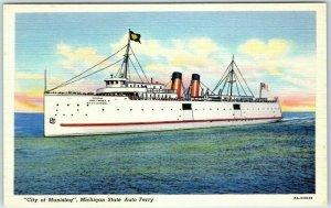 1940s Michigan Postcard CITY OF MUNISING State Auto Ferry Linen Unused