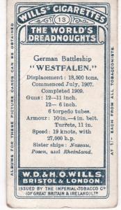 Cigarette Card Wills The World's Dreadnoughts (1910) No 13