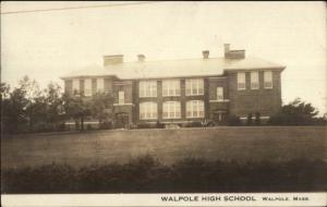 Walpole MA High School c1910 Real Photo Postcard