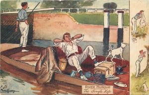 L Thackeray~Comic~The Single Life~River Humour~Man Lives in Boat with Dog~TUCK