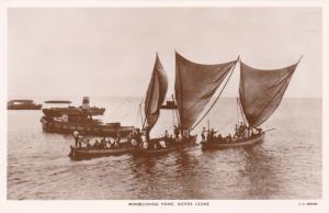 RP: SIERRA LEONE, 1920-1940s; Native Sailing Boats Returning To Village, Manceuv