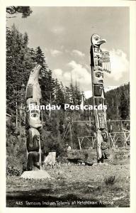 alaska, KETCHIKAN, Native Indian Totems (1940s) RPPC