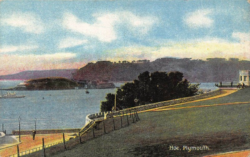 Plymouth Hoe Road Ship Boat Sea Panorama Postcard