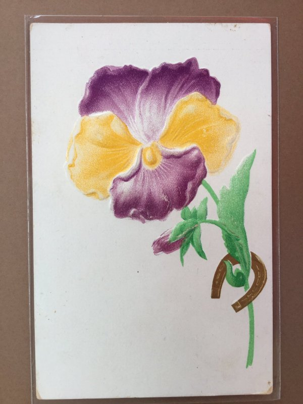 Purple/Yellow Pansy Gold Horseshoe Airbrushed/Heavily Embossed Novelty Postcard