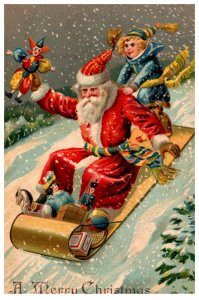 Santa Claus  on Tobbagan with girl on back