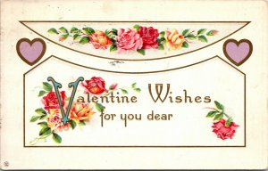 1915 - ANTIQUE Post Card Valentine - St. Valentines Wishes - Roses Flowers