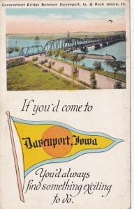 Iowa Davenport Government Bridge 1924 Pennant Series