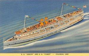 LP55  Ship Vintage Postcard Colonial Line S. S. Arrow and S. S. Comet