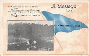 C17/ Cannonsburg Michigan Mi Pennant Postcard 1920 A Message from Cannonsburg