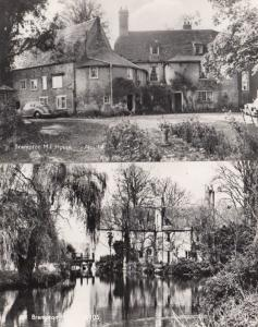 Brampton Huntingdon Moored Boats Mill House Vintage Real Photo 2x Postcard s