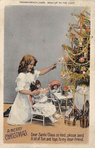 Merry Christmas  Santa in Transparancy Hold to Light 1909