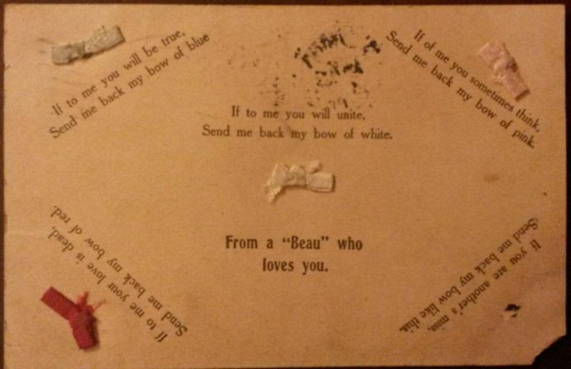 Poem Greeting Postcard~Colored Bows with Different Meanings~from a Beau~1907 Pc