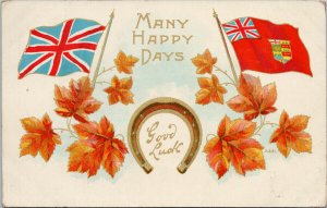 Canada Patriotic 'Many Happy Days' Good Luck Horseshoe Maple c1910 Postcard F91