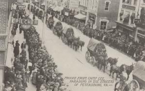 CAMP LEE, Virginia, 1910-20s; Troops Parading in the Streets of PETERSBURG, VA