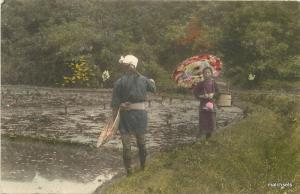 1910 JAPAN Hand colored Rural Woman Parsol Agriculture postcard 4172