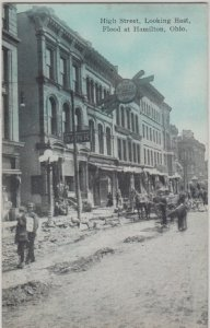 HAMILTON OH - HIGH STREET WITH FLOOD DAMAGE / 1913 - Bank + more !