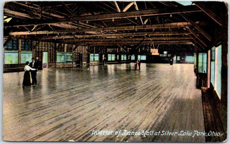 1915 Akron, Ohio Postcard Interior of Dance Hall Silver Lake Amusement Park