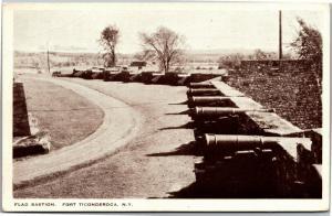 Fort Ticonderoga, Flag Bastion Cannons New York Vintage Postcard M09
